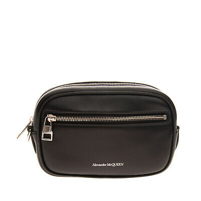 AU181.74 • Buy RRP €455 ALEXANDER McQUEEN Leather Clutch Bag Printed Logo Zipped Made In Italy