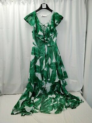 £5.99 • Buy ❤ Gorgeous Very Green And White Patterned Chiffon High Low Dress Lined Size 6...