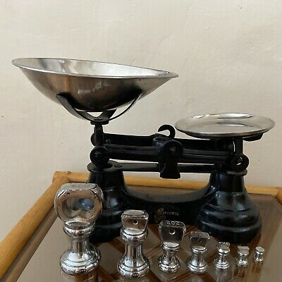 £37.99 • Buy Librasco Weighting Scales Vintage Black Cast Iron Chrome 7 Weights Pans