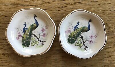 £7 • Buy Vintage Royal Worcester Palissy Peacock Pin Dishes
