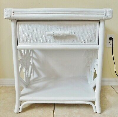 £213.79 • Buy Beautiful Vintage White Wicker Rattan PALM TREE Side/End Accent Table Drawer