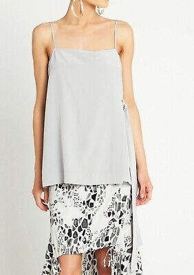 AU28 • Buy Sass And Bide Size 12 Silk Grey Top With Side Tie