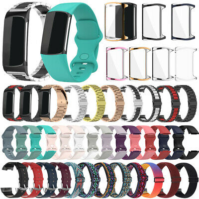 AU7.28 • Buy For Fitbit Charge 5 Strap Silicone/Nylon/Leather/Metal Wristband Band+TPU Case