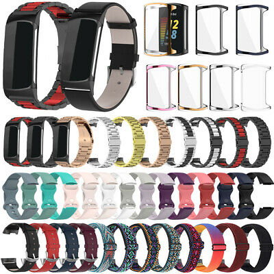 AU11.96 • Buy For Fitbit Charge 5 Silicone/Leather/Nylon/Metal Watch Strap Wrist Band+TPU Case