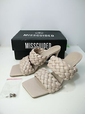 £14.99 • Buy New Womens Missguided Uk 5 Eu 38 Nude Double Strap Square Toe Woven Mules Shoes