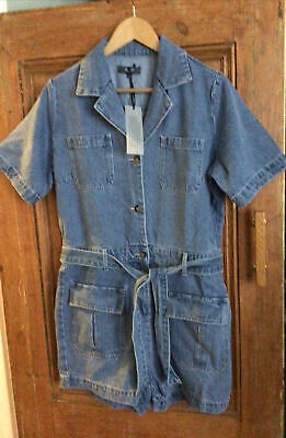£0.99 • Buy Thick Blue Denim Warm Collared Playsuit Belted Pockets Size 14 Nwot Autum