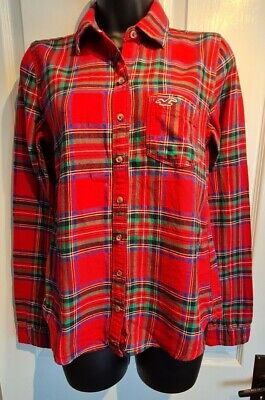 £6 • Buy Hollister Size Small Red Checked Tartan Shirt Blouse Flannel