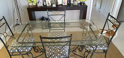 AU500 • Buy Black Iron Dining Table And Chair Set With Gold Accents