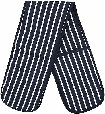 £4.99 • Buy 100% Cotton Butcher Stripe Kitchen Apron Quilted  Double Oven Gloves Mitts