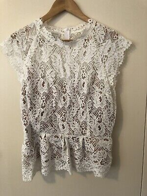 AU35 • Buy Witchery Cream White Lace Top 16 XL