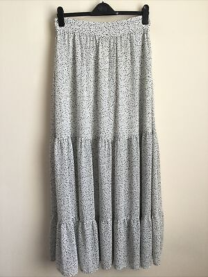 £6.99 • Buy H&M White And Black Polka Dot Tiered Maxi Skirt Size 12