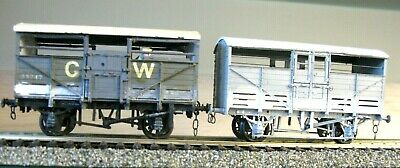 £11.99 • Buy Gwr Finescale 2 Kit Built Cattle Wagons Lime Weathered (lot 332b/d)