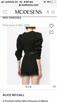 AU99 • Buy Alice Mccall A Foreign Affaire Black Playsuit Size 10