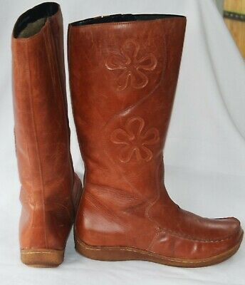 £9.99 • Buy Fabulous Vintage/retro Hush Puppies Quality Tan Leather Boots Exc Cond.5uk-38eu