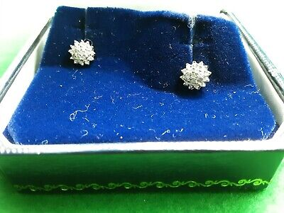 £149 • Buy 9ct White Gold Diamond Tiered Daisy Cluster Earrings