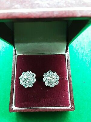 £1875 • Buy Antique 18ct White Gold Diamond Cluster Earrings Studs 2ct