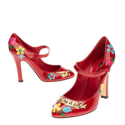 £5.50 • Buy RRP €685 DOLCE & GABBANA Leather Mary Jane Shoes EU38.5 UK5.5 US8.5 Floral Studs