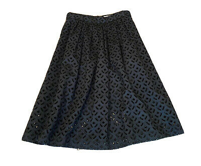 AU79 • Buy Gorman Navy Broderie Lace Skirt, Size 12, Fully Lined, 100% Cotton