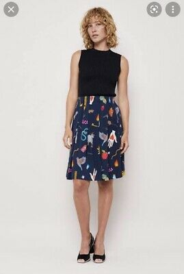 AU99 • Buy Gorman Fable Skirt, Navy With Print, Size 10, Soft Pleats