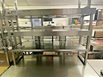 £574.99 • Buy 1.3m Heated Gantry 3 Tiers With 4 Heat Lamps On Top 2 Shelf Chefs Pass Through