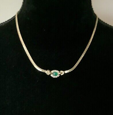 £8 • Buy Vintage Jewellery Flat Snake Chain Necklace With Crystal Stones In Gold Tone
