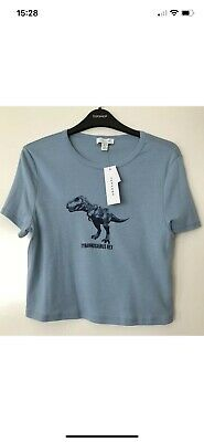 £5.25 • Buy TOPSHOP BLUE CROPPED DINOSAUR T REX PRINT TEE CROP T-SHIRT SIZE 12 New No Tags