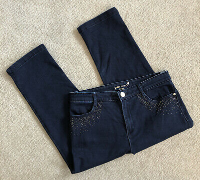 £6 • Buy Marks And Spencer Per Una Ladies Cropped Navy Jeans With Diamonte Detail Size 12