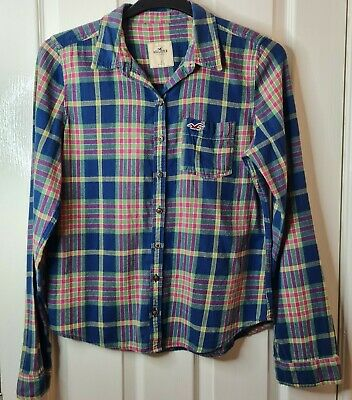 £4.99 • Buy Hollister Size Large Blue Checked Shirt Ladies