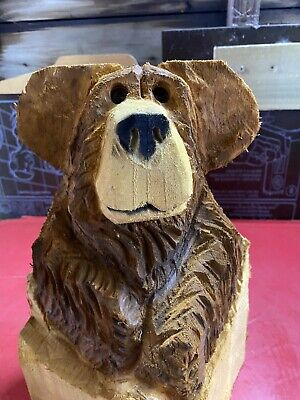 £49.99 • Buy Chainsaw Carved  Bear In Stump Carved Bear Wood Carvings Chainsaw Carvings