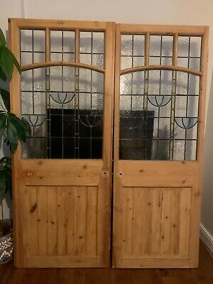 £190 • Buy Pine Internal Door, Colour/ Stained Glass Panel Inserts, Used