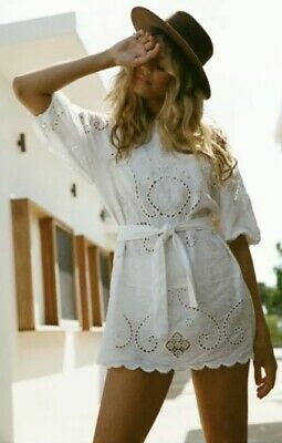 AU350 • Buy Spell And The Gypsy Collective Lala Linen Shift Dress White Size XL