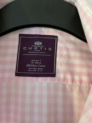 £2.99 • Buy Hawes & Curtis 15  38cm Men's Pink Check Double Cuff Shirt Luxury Slim Fit-Small