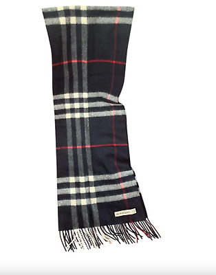 £180 • Buy Burberry The Classic Check UNISEX Cashmere Scarf - BLUE