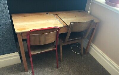 £45 • Buy Children's Vintage Wooden Double School Desk With Ink Wells And Two Chairs