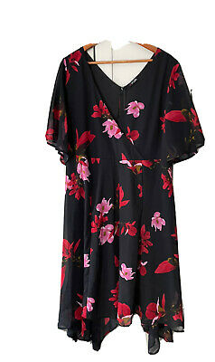 £4.80 • Buy Yours Clothing Floral Dress Blue Red UK 20