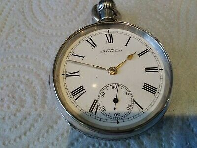 £15.99 • Buy Antique 1890 A.W.W.Co Waltham Mass Silver Cased Pocket Watch. Spares/Repair.