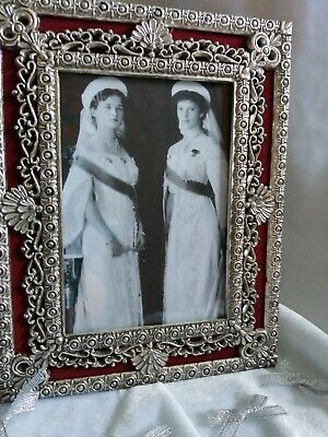 £9.99 • Buy Russian Imperial Red And Silver Metal Ornate Photo Frame