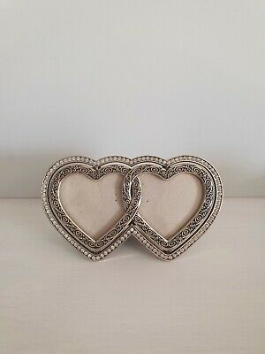 £19.99 • Buy Vintage Heart Double Photo Picture Frame Silver
