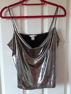 £2.75 • Buy H And M Silver Shiny Strappy Top Size S Small