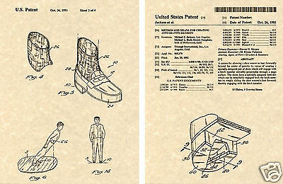 MICHAEL JACKSON DANCE SHOE US PATENT Art Print READY TO FRAME!!!!  Micheal • 7.81£