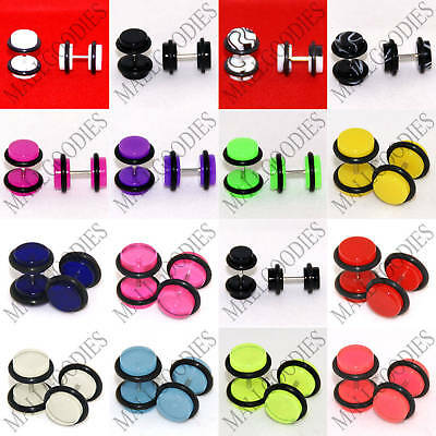 $6.95 • Buy V011 Fake Faux Cheaters Illusion 16G Ear Plugs Earrings Studs 4G 2G 0G 00G 1/2