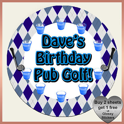 * Personalised PUB GOLF Argyle STICKERS Stag Do Hen Birthday Party - Fancy Dress • 2.99£