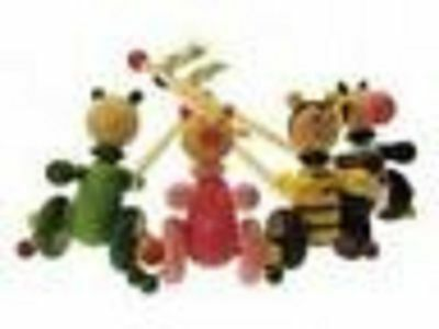 Wooden Animal Push Along Walking Toy For Toddler PIG COW BEE FROG  • 7.50£