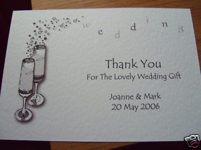 £2.59 • Buy 5 Personalised Wedding Thank You Cards Champagne Flts