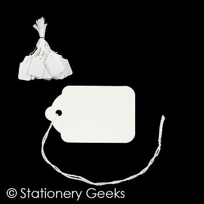 £1.85 • Buy 100 White Strung Tickets 54 X 35 Mm Price Tags String Swing Labels 54mm X 35mm