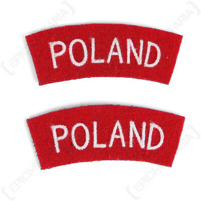 £8.75 • Buy Poland Shoulder Titles - WW2 Repro British Patches Badges Army Sleeve Flash Arm