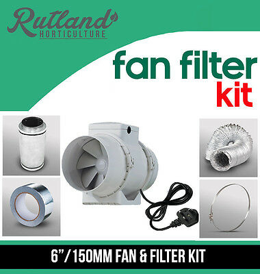 6  In Line Fan, Carbon Filter & Duct Kit - Hydroponic Grow Room Tent Ventilation • 89.99£