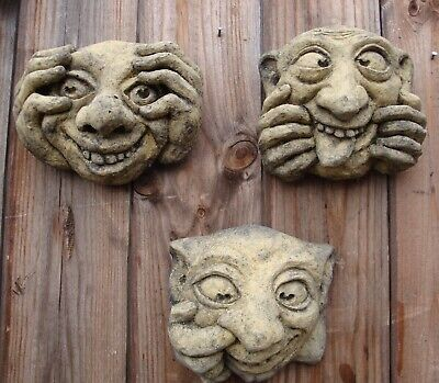Ugly Faces Wall Plaques Set Of 3 Bogies Gargoyle Faces Funny Face Stone Plaques • 14.99£