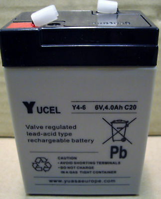 Yuasa Yucell Y4-6 Lead Acid Rechargeable Battery 6V - 4Ah, NP4-6, NP4.5-6 • 11.19£