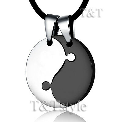 AU15.99 • Buy TT Two-Tone Black Stainless Steel YING&YANG Pendant Necklace For Couple (NP166)